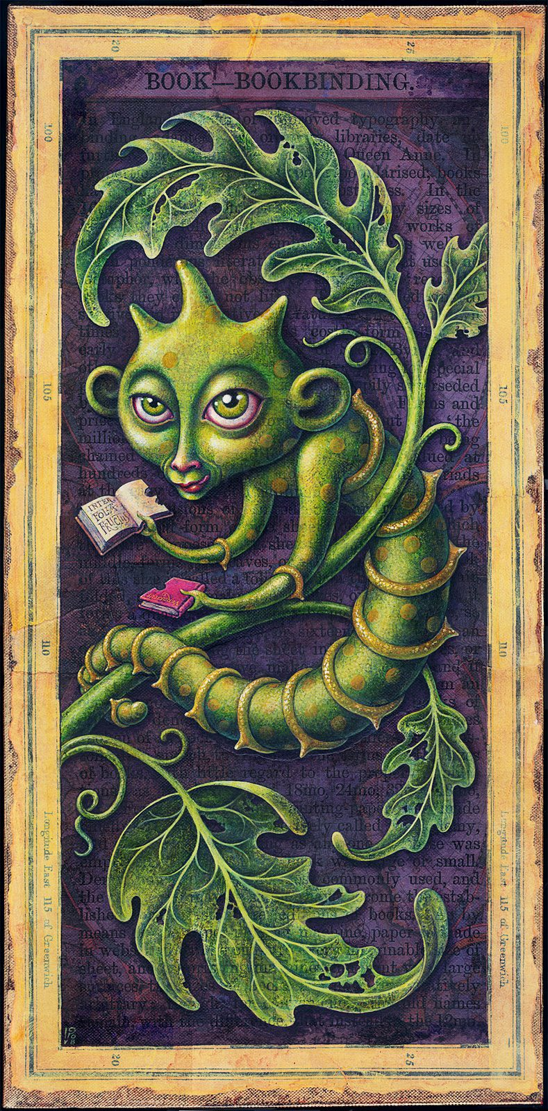 Voracious-Acrylic Painting of a Bookworm by Leah Palmer Preiss