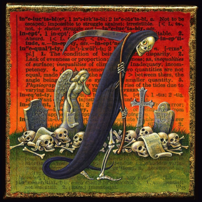 Painting of Grim Reaper; Death and Taxes