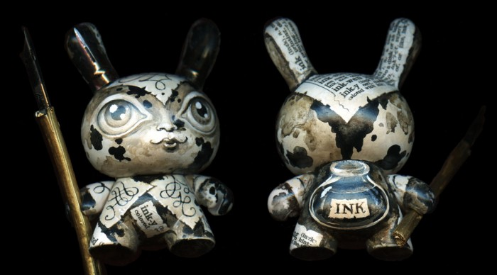 custom dunny, hand-painted vinyl toy, featuring an ink bottle and dip pen nibs