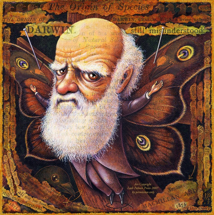 Acrylic painting, Darwin, Charles Darwin, butterfly wings, collage, text,