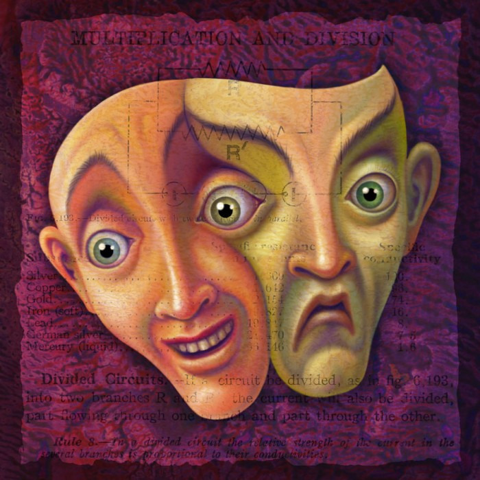 Mister Duality--digital art Photoshop painting of split personality heads by Leah Palmer Preiss