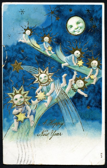 Happy New Year German postcard, ephemera