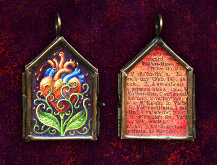 hand-painted locket, acrylic on paper in glass and copper locket, one of a kind art jewelry by Leah Palmer Preiss
