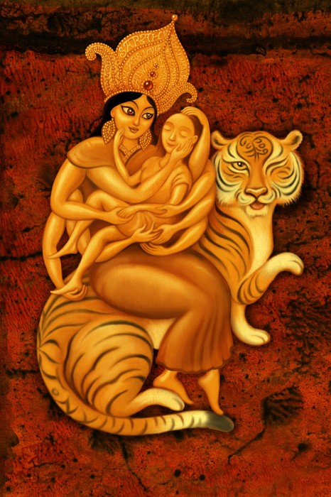 Durga Digital Art, Photoshop illustration, Leah Palmer Preiss