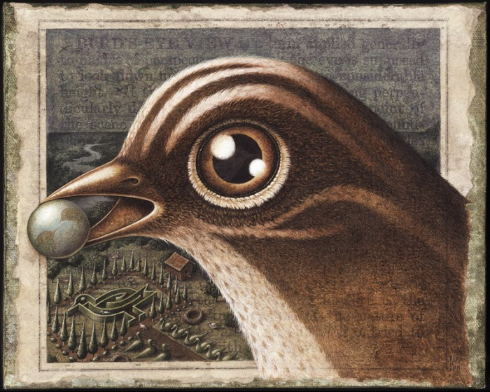 Sepia print of bird from acrylic painting by Leah Palmer Preiss