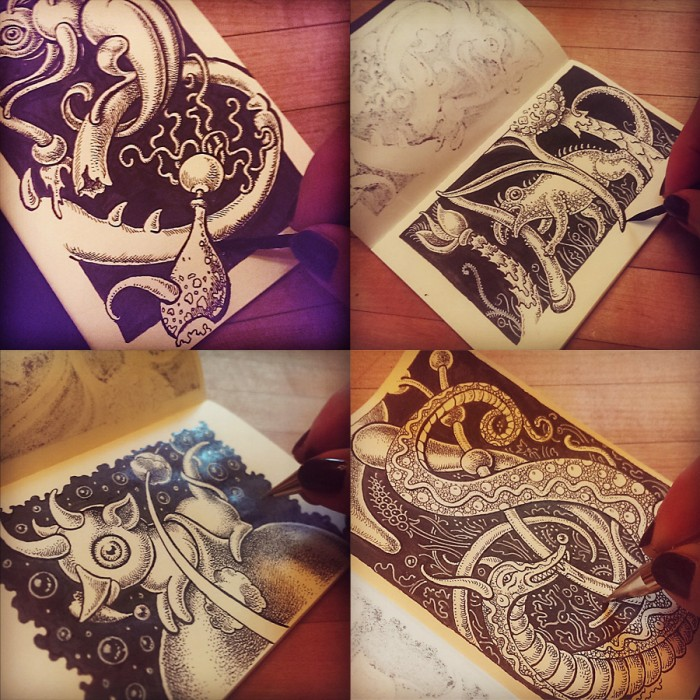 Pen and ink sketchbook drawings of strange creatures by Leah Palmer Preiss