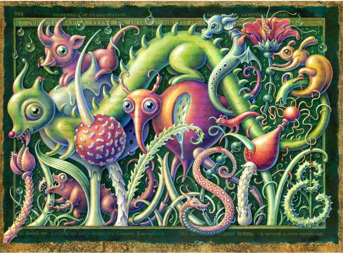 Invasive, Acrylic painting by Leah Palmer Preiss of creepy-cute monsters in a fantasy landscape setting. Pop surrealism art style.