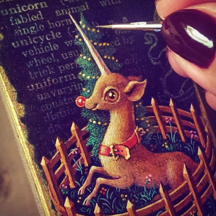 Rudicorn, acrylic miniature painting of Rudolph the red-nosed reindeer as unicorn by Leah Palmer Preiss