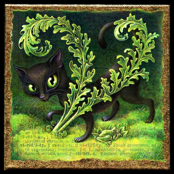 Viridity, acrylic painting by Leah Palmer Preiss Curious cat with green foliage & frog