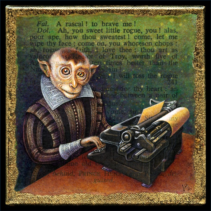 Infinite Monkey, acrylic painting by Leah Palmer Preiss of Shakespearean monkey with typewriter