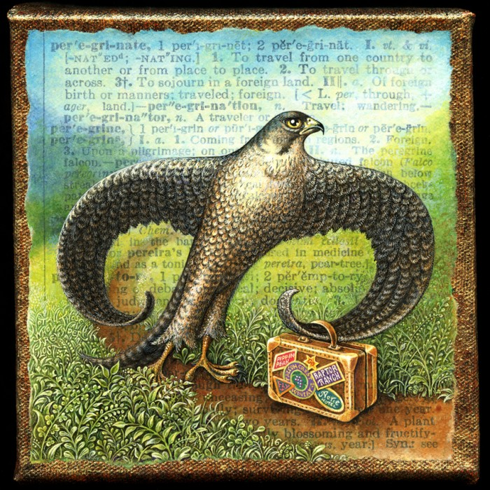 "Peregrinate: Acrylic painting by Leah Palmer Preiss of peregrine falcon hiking a mountain trail with an antique suitcase. ""Not all those who wander are lost."""