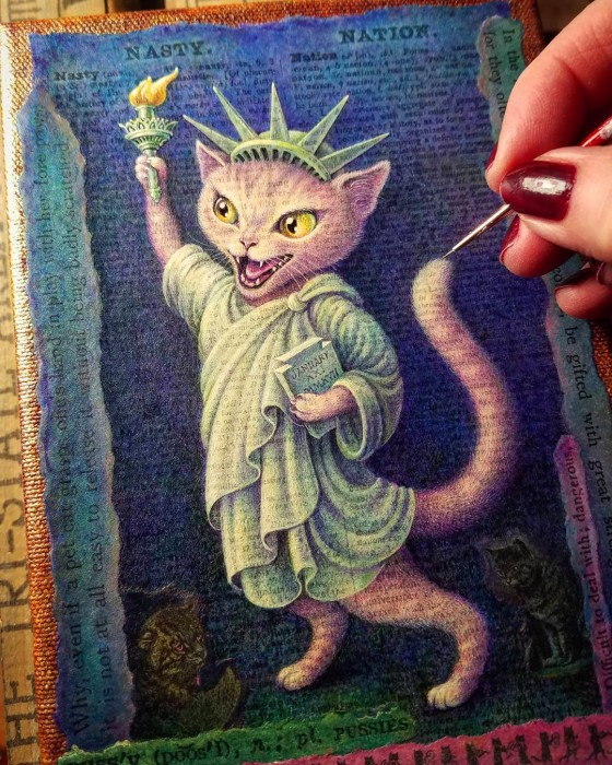acrylic painting in progress by Leah Palmer Preiss. Pink cat dressed as lady liberty.. Pussy grabs back, women's march
