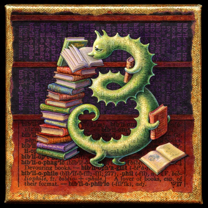 Acrylic painting by Leah Palmer Preiss of a bookworm with favorite books
