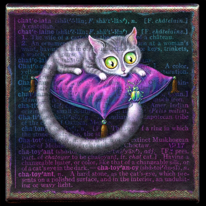 Acrylic painting of cat on silk cushion with glowing green eyes by Leah Palmer Preiss