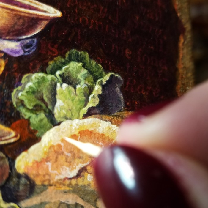 Acrylic Painting in process by Leah Palmer Preiss, showing a tiny cabbage and ham