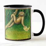 Lazy sloth mug by Leah Palmer Preiss, Sloth holding a doctor's note,
