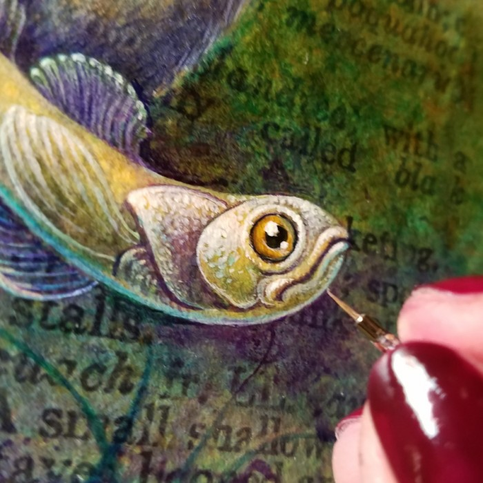 Acrylic painting in progress by Leah Palmer Preiss, miniature fish detail