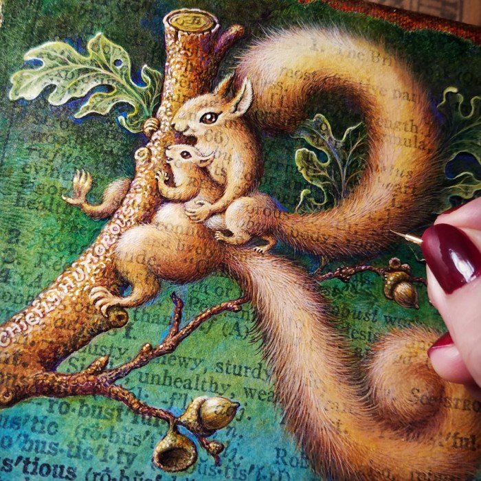 Acrylic painting in progress, red squirrels on oak branch by Leah Palmer Preiss