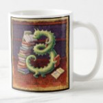 Bibliophile Mug by Leah Palmer Preiss depicting a bookworm with books