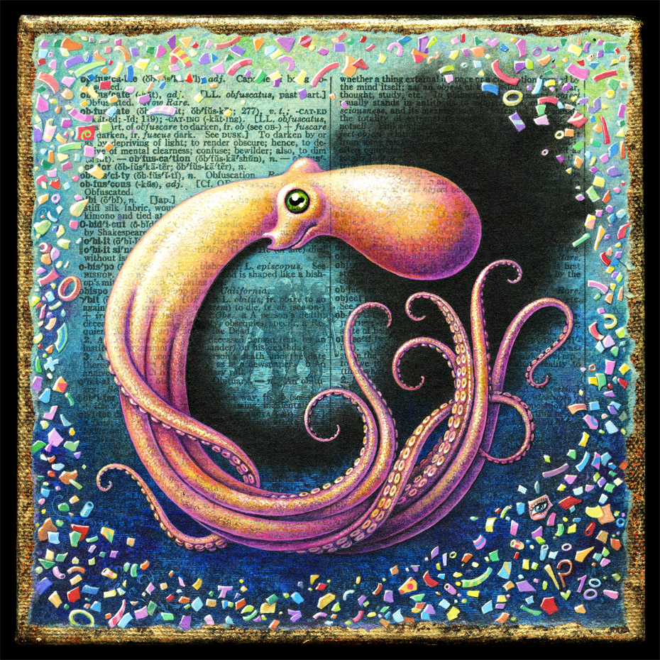 Acrylic painting of octopus emitting ink by Leah Palmer Preiss. Background of ocean plastic pollution