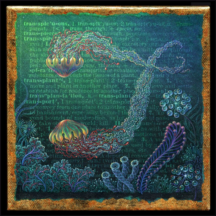 Acrylic painting by Leah Palmer Preiss, depicting jellyfish & other undersea life