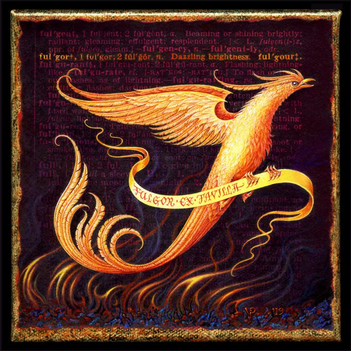 Painting by Leah Palmer Preiss depicting a glowing phoenix rising from the ashes