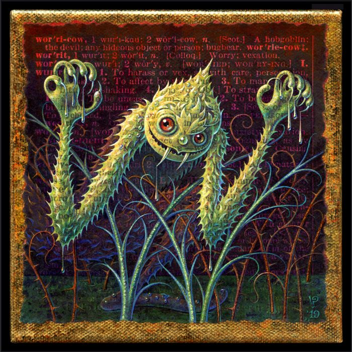 Acrylic painting by Leah Palmer Preiss, Worricow: A prickly green monster rising from the swamp