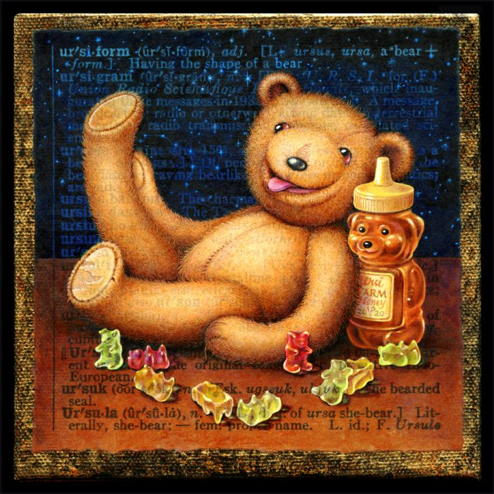 Acrylic painting by Leah Palmer Preiss depicting a teddy bear, a honey bear, gummi bears, & Ursa Major & Minor