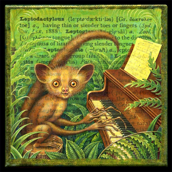 Acrylic painting by Leah Palmer Preiss depicting an aye-aye playing the piano amid tropical foliage